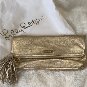 NEW Lilly Pulitzer Gold Leather Clutch Purse $148